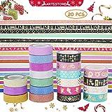 ARTISTORE Washi Masking Tape Set von 20 (0,59 Zoll × 32,8 ft), dekorative Craft Tape Collection für DIY und Kunsthandwerk, Sammelalbum DIY, Heimtextilien, kreative, Re-Position, Masking Tape