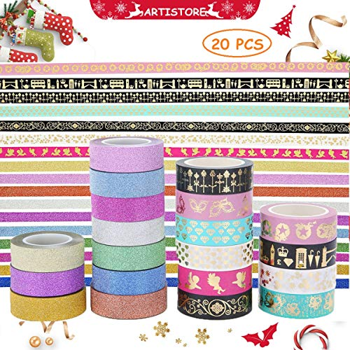 ARTISTORE Washi Masking Tape Set von 20 (0,59 Zoll × 32,8 ft), dekorative Craft Tape Collection für DIY und Kunsthandwerk, Sammelalbum DIY, Heimtextilien, kreative, Re-Position, Masking Tape