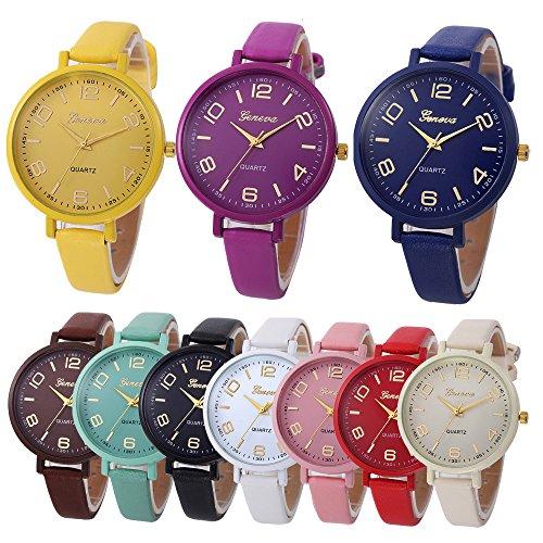 rt Quarz Uhr 12 mm Lederarmband mit Hakenverschluss,Candy Farben Armband mit Wasserdicht,Analog Uhr Lederarmband Damen Uhr für Damen Herren,180 mm Bandlänge (Gelb) ()