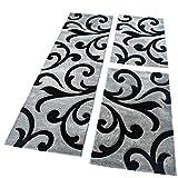 PHC Bettumrandung Läufer Teppich Modern Ranken Muster Grau Schwarz Läuferset 3 Tlg, Grösse:2mal 80x150 1mal 80x300