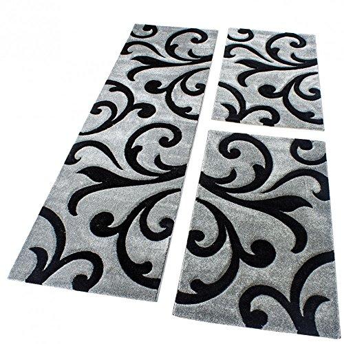Bettumrandung Läufer Teppich Modern Ranken Muster Grau Schwarz Läuferset 3 Tlg., Grösse:2mal 80x150 1mal 80x300