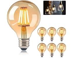 KIPIDA Ampoule E27 Edison Vintage, Ampoules Edison LED E27 G80 4W Lampe, Rétro Filament Edison Ampoule,Vintage Antique Décora