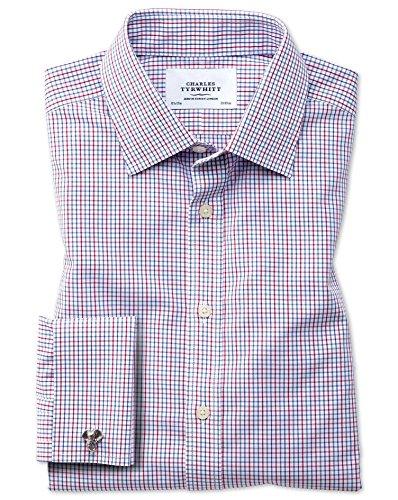 Bügelfreies Classic Fit Hemd in bunt mit Gitterkaros MULTI (Umschalgmanschette Cuff)