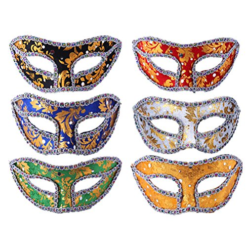 Zhhlaixing Retro style Venetian Masquerade Masks Eye Fancy Dress Party/Masked Ball Holloween Set of 6 Pieces