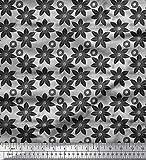 Soimoi Grau schwere Leinwand Stoff schwarz Skizze Blumen-