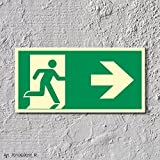 Rettungsweg rechts Notausgang Rettungswegschild Schild Nachleuchtend ASR A1.3 300 x