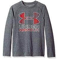 Under Armour Camiseta de Manga Larga para Chicos Logo híbrido Grande, Niños, Hybrid Big Logo T, Negro/Rojo