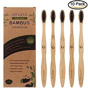 Bambus Zahnbürsten für weiße und gesunde Zähne, 5 Pcs BPA freie Bambus Holzzahnbürste mit umweltfreundlicher Packung des Papiers