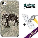 Becool® Fun- Funda Gel Flexible para iPhone 4 iPhone 4S [ +1 Protector Cristal Vidrio Templado ]Carcasa TPU fabricada con la mejor Silicona, protege y se adapta a la perfección a tu Smartphone y con nuestro exclusivo diseño Dibujo étnico elefante