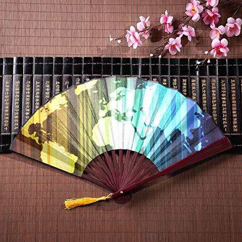 EIJODNL Chinese Folding Fans Spectrum Weltkarte Glow Effects Eps 10 mit Bambusrahmen Quaste Anhänger und Stoffbeutel Handfächer Chinese Large Traditional Chinese Fan Folding Handheld Fan