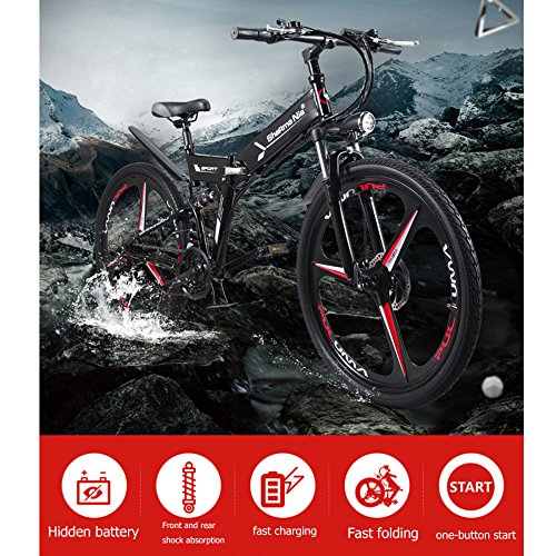 61OisVtPj5L. SS500  - GTYW Electric Folding Bicycle Mountain Bicycle Moped 48V Lithium One Wheel Bicycle 26