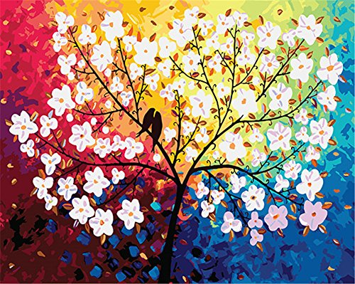 """CaptainCrafts Nouvelle peinture par numéros 16x20"""" pour les adultes, enfants toile - Désir Amour, arbre coloré (Sans cadre)"""