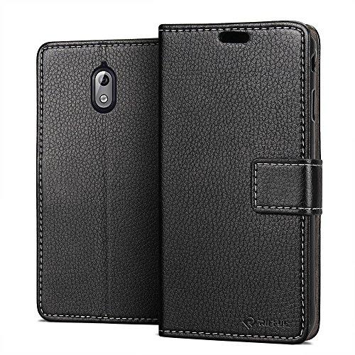 RIFFUE Nokia 3 2018 (Nokia 3.1) Hülle, Soft PU Abdeckung Cover, Flip Book Retro Elegant Style Handyhülle Nokia 3.1 (5,2 Zoll) mit Card Slots und Magnetverschluss- Schwarz