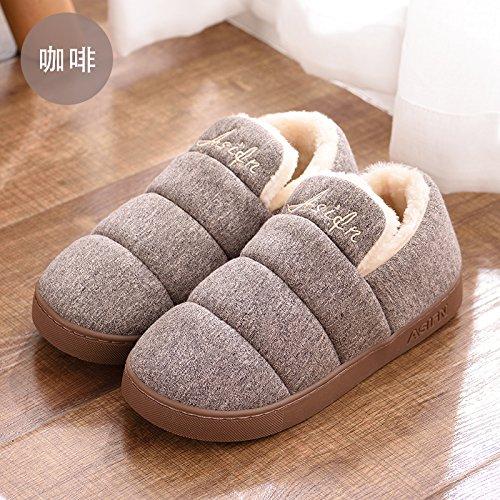 DogHaccd pantofole,Colore puro cotone di qualità pantofole pacchetto femmina con elegante indoor e outdoor home soggiorno pavimento anti-slittamento, donne in stato di gravidanza caldo cotone scarpe Il caffè2