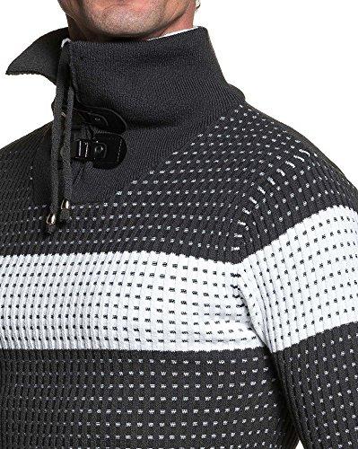 BLZ jeans - Pull homme quadrillé gris anthracite à double col Gris