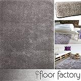 Alfombra Moderna Seasons gris 140x200 cm - Alfombra de Pelo Largo blanda y suave