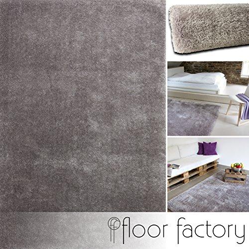 Alfombra Moderna Seasons gris 80x150 cm - Alfombra de Pelo Largo blanda y suave