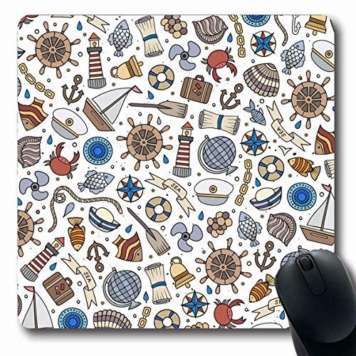Luancrop Mauspads für Computer Flossen Abenteuer Niedliche handgezeichnete nautische Marine Natur Sonne abstrakt Anker Glocke Boot Kapitän Kinder rutschfeste längliche Gaming-Mauspad