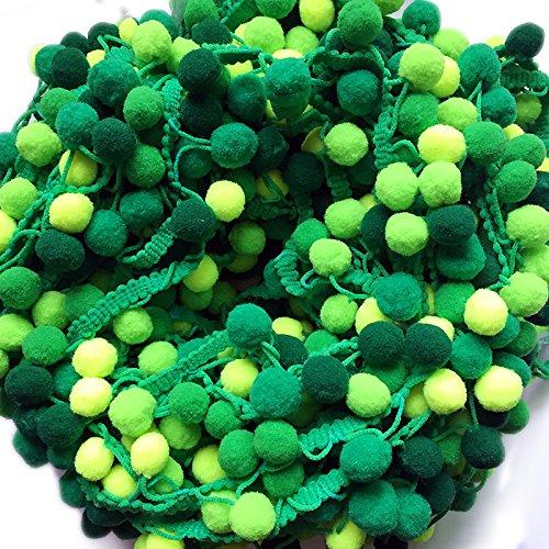 Yalulu 5 Yards Regenbogen Pom Pom Pompom Bommelborte Lace Spitze Quaste Trim Band für DIY Fertigkeit Nähen Zubehörteil Dekorieren (Grün) -