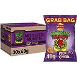 Walkers Crisps Monster Munch Pickled Onion Snacks Box, 40 g (Pack of 30)