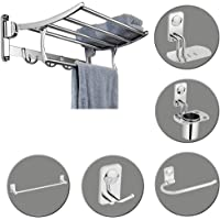 Plantex High Grade Stainless Steel Folding Towel Rack with Bathroom Accessories Set of 5pcs (Towel Rod/Napkin Ring…