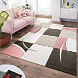 T&T Design Tapis Moderne Salon À Carreaux Tendance Pastel Rose Beige Gris Crème, Dimension:120x170 cm