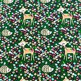 0,5m Jersey Igel & süßes REH im Blumenmeer dunkelgrün
