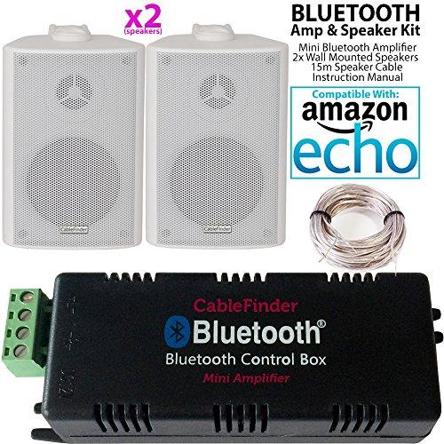 Smart Home Bluetooth Verstärker & 2x Weiß Wand montiert-Lautsprecher-Set–Kompakte HiFi Mini/Micro Amp–Badezimmer/Küche Audio Musik Player System–Cablefinder