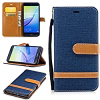 For Huawei P10 Lite Case [with Free Screen Protector], Qimmortal(TM) Premium Soft PU Leather Cowboy Cloth Wallet Cover Case with [Kickstand] Credit Card ID Slot Holder Magnetic Closure Design Folio Flip Protective Slim Skin Cover For Huawei P10 Lite(Dark