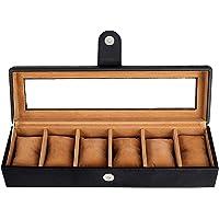 Leather World Leatherette Watch Box Case Layer Lock 6 Slots Watches Storage Organizer Boxes Case Men Women (Black)