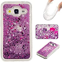 MUTOUREN Bling Bling Funda para Samsung Galaxy G360 Glitter Estrellas Lentejuelas Líquido Arenas Movedizas Carcasa Plástic Duro Moda Tapa Case Cover Claro Cristal Transparente Cubierta Caja de Protección Resistente a Arañazos Choque Absorción - púrpura Quicksands
