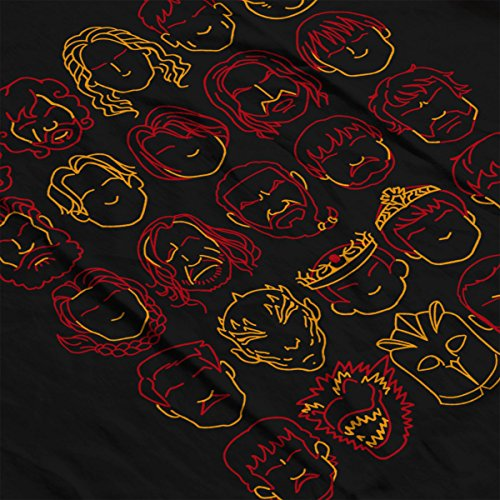 Game Of Thrones Outlined Faces Men's T-Shirt Black