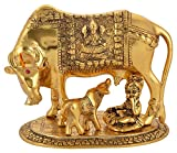 Kamdhenu Cow and calf With Krishna Xl Gold plated
