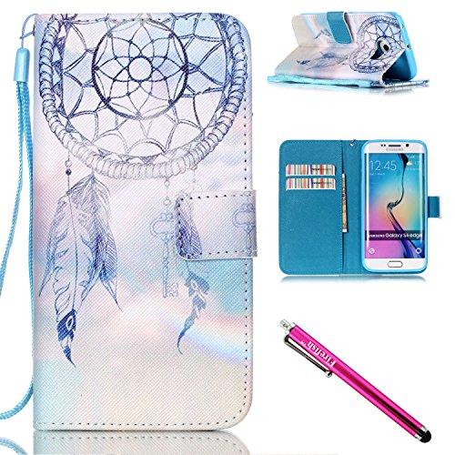 Custodia Galaxy S6 Edge, Firefish [Kickstand] [Shock assorbente] doppio di protezione Portafoglio Flip Folio sottile (Doppio Glitter)