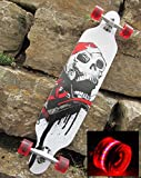 Longboard 41 Skull & 4 LED ROLLEN GRATIS DAZU