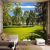 YUANLINGWEI Wandbild Tapete 3D Anpassen Gras Wald Grün Baum Muster Wandbild Tapete Umweltfreundlich Für Tv Hintergrund Wohnzimmer Küche Schlafzimmer,230Cm (H) X 310Cm (W)