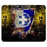 Wappen Griechenland, Designer Leder Mousepad Unterlage Mauspad Maus-Pad Stark Anti Rutsch Unterseite für Optimalen Halt mit Lebhaftes Motiv Kompatibel mit Apple Magic Maus. Ideal für Gamer und für Grafikdesigner