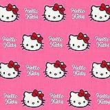 Fabulous Fabrics Baumwollstoff Hello Kitty – pink — Meterware ab 0,5m — Oeko-Tex Standard 100 — zum Nähen von Kinderartikeln, Taschen und Vorhängen