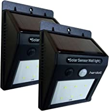 Hardoll Solar Lights Super Bright 6 LED Outdoor Wireless Solar Energy Powered Motion Sensor Wall Lights with 2200 mAh Battery with ON/Off Switch Waterproof for Patio, Deck, Yard, Garden, Driveway