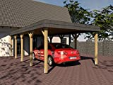 Carport Walmdach SAUERLAND X 400 x 800cm mit Schieferblende