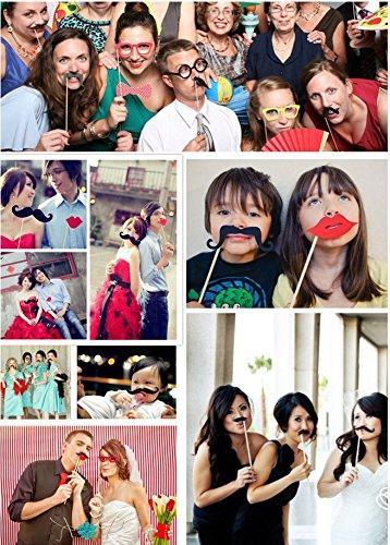 76 pcs Hochzeit Fotorequisiten Fotoaccessoires, Foto Booth Props DIY Kit Dress-up Weihnachten Geburtstag für (Themen Geburtstag Dress Up)