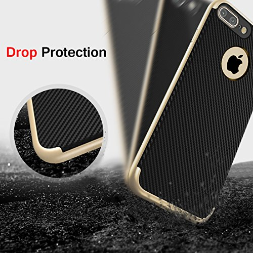 Custodia iPhone 7, Ubegood Cover iPhone 7 Bumper Cover iPhone 7 Case [Protezione goccia] Protective Cover per iPhone 7 (Argento) Oro