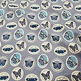 Stoff Baumwollstoff Meterware grau Schmetterlinge weiß