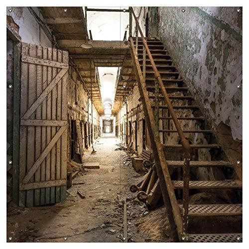 Wallario XXL Garten-Poster Outdoor-Poster - Leuchtender Gang in altem verlassenen Gefängnis in Premiumqualität, für den Außeneinsatz geeignet