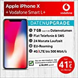 Apple iPhone X (spacegrau) mit 64 GB internem Speicher, Vodafone Smart L+ inkl. 7GB Highspeed Volumen mit max 500 Mbits, inkl. Telefonie- und SMS Flat, EU-Roaming, 24 Monate min. Laufzeit, mtl. € 41,99