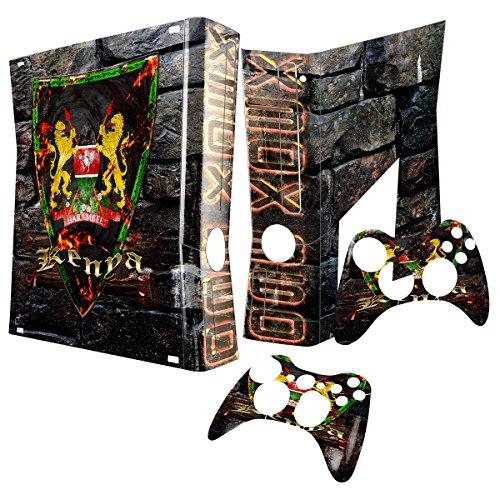 Virano Wappen Kenia, Designfolie Sticker Skin Aufkleber Schutzfolie mit Farbenfrohem Design für Xbox 360 Slim -