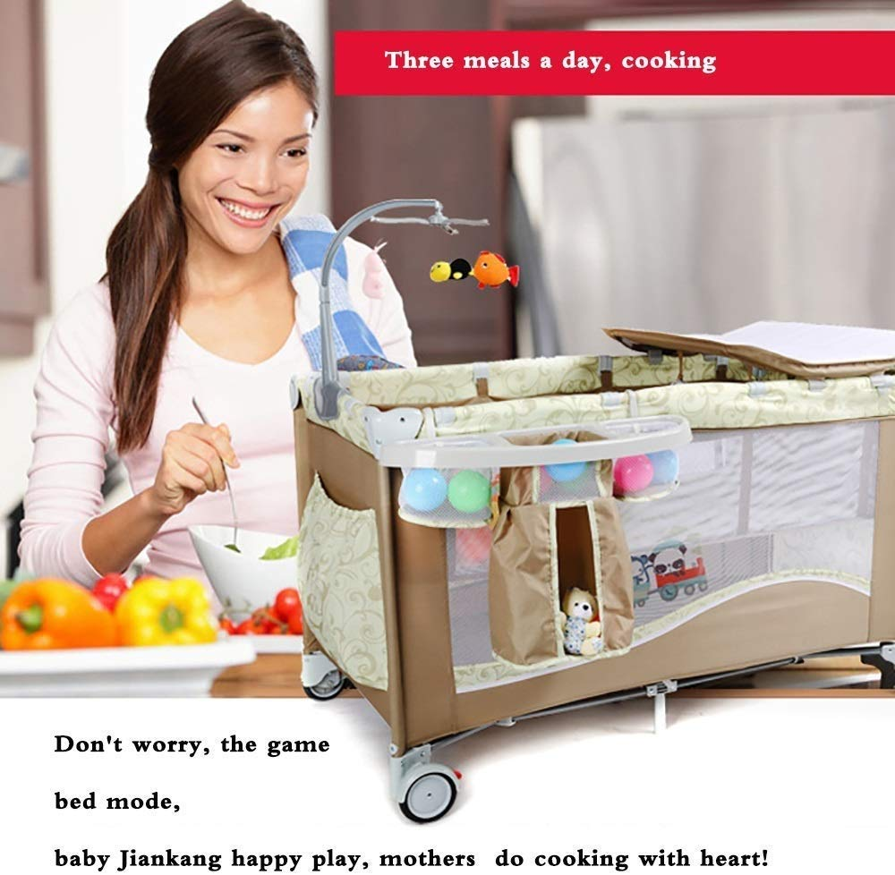BHDYHM Bedside Sleeper Baby Includes Travel Bag, and Mattress Travel Cot, Correcting The Back Foldable Crib, Safety Padded Cots Unisex BHDYHM * The game bed mode, let the baby play safely, the music rack is equipped, don't worry that the baby will cry, liberate the mothers hands to do housework and create a warm home! * Safe height, don't worry that the baby will fall in the game bed, the baby can play, the mother can eat at ease, and it is their own rest time! *Moms are worried about the safety of the baby, but also take care of the husband's dinner, don't worry, the game bed mode, baby Jiankang happy play, mothers do cooking with heart! 5