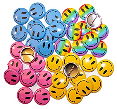Smiley Face Button Badges - MULTI COLOURS & QUANTITIES (32mm / 1.25 Inch)