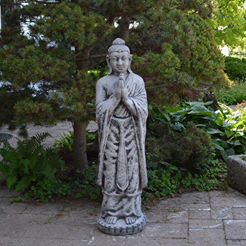 gartendekoparadies.de Massive riesige Statue Buddha Mönch Tempelwächter aus Steinguss, frostfest