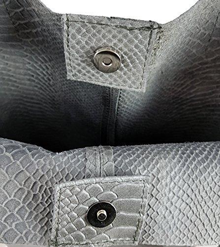 Shopper In Vera Pelle Da Donna Con Borsa Di Gioielli In Vari Colori Borsa A Tracolla Borsa A Mano Borsa Look Metallico Serpente Grigio
